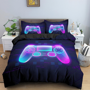 Fashion 2/3 Pcs Gamer Duvet Cover Cartoon King Queen Single Bedding Sets Kids Boys Girls Bed Set Game Quilt Comforter Covers