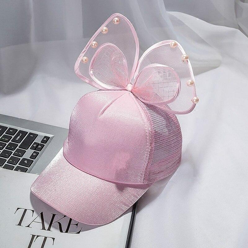 Модная летняя детская бейсбольная кепка с большим бантом и цветочными ушками черного, белого и розового цветов с жемчужинами, Детские Солнцезащитные шляпы, сетчатая Кепка принцессы - Цвет: pink