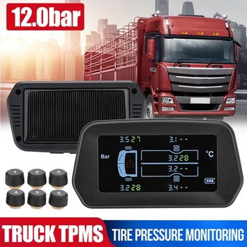 Wireless Solar TPMS Truck Tire Pressure Monitor System 12.0Bar Tyre Temperature Alarm with 6 External Sensors solar power tpms car tire pressure alarm monitor system auto security alarm systems tyre pressure temperature warning