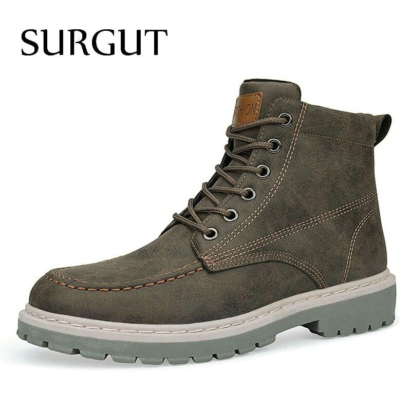 SURGUT Autumn Winter Men Boots New Vintage Style Boots Men Shoes Casual Fashion High-Cut Lace-up Ankle Boots Zapatos De Hombre