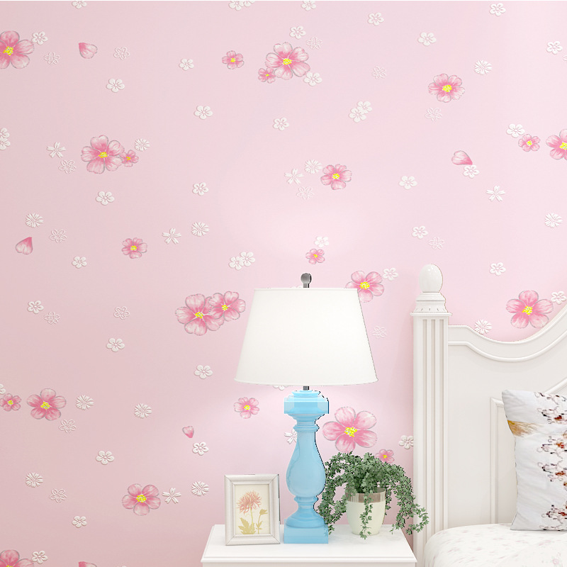 European Countryside Pink Small Flower CHILDREN'S Room Wallpaper Living Room Bedroom Restaurant Wall Warm Marriage House Wall-to
