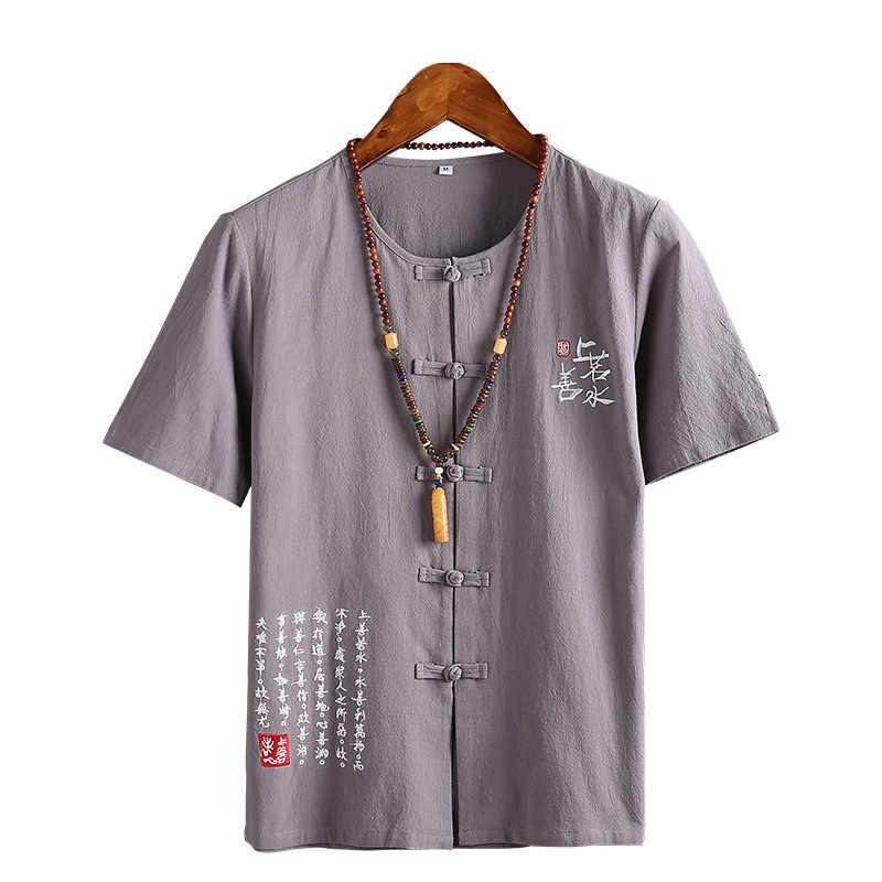 Chinese Stijl Mannelijke Tshirt Casual Streetwear Mannen Linnen Katoen Losse Blouse Traditionele Kung Fu Outfit Hanfu Jassen Wu Shu Tee tops