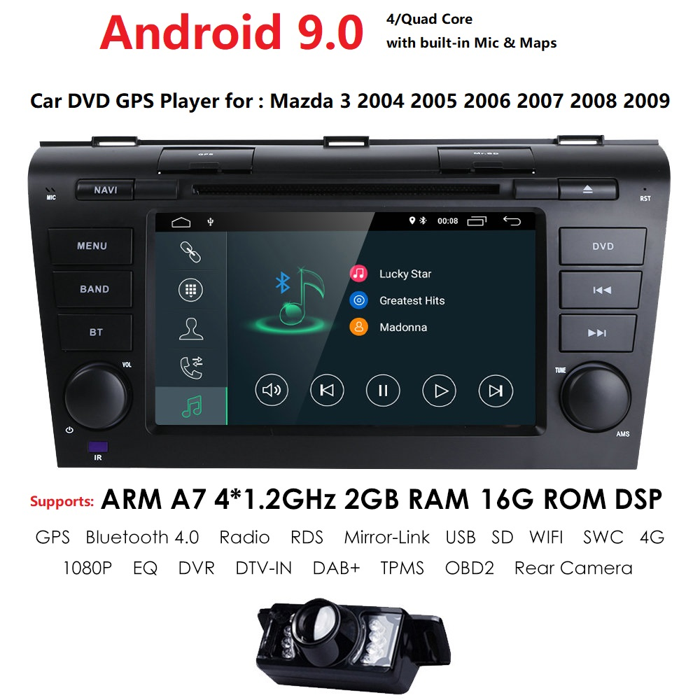 Hizpo 7 Inch Android 9.0Car Radio For 2009 2008 2097 2006 <font><b>MAZDA</b></font> <font><b>3</b></font> GPS Navi Wifi 4G <font><b>Multimedia</b></font> Player Head Unit Auto Stereo image