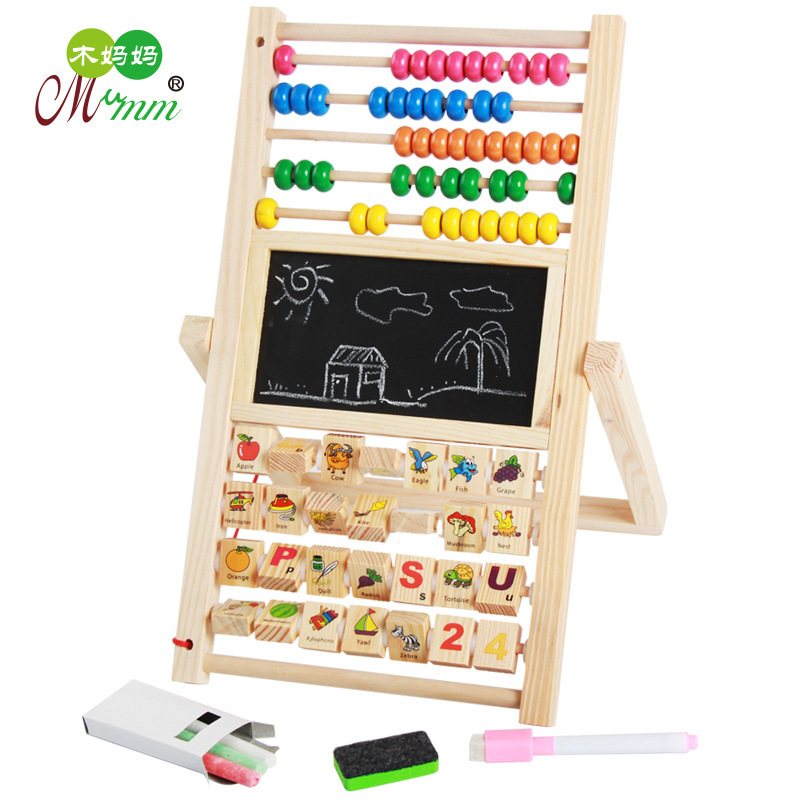 Wooden Educational Toys Multi-functional Drawing Board Building Blocks Double-Sided Calculation Frame Toys For Children And Infa