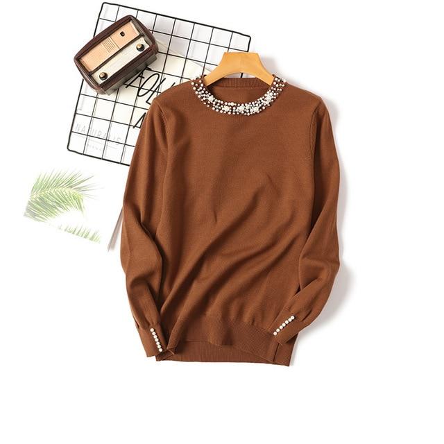 Autumn Winter Women Beaded Sweater 2019 O-Neck elegant sweater Jumper Top Loose Casual Warm Femme Sweater knitting bottom shirt 2