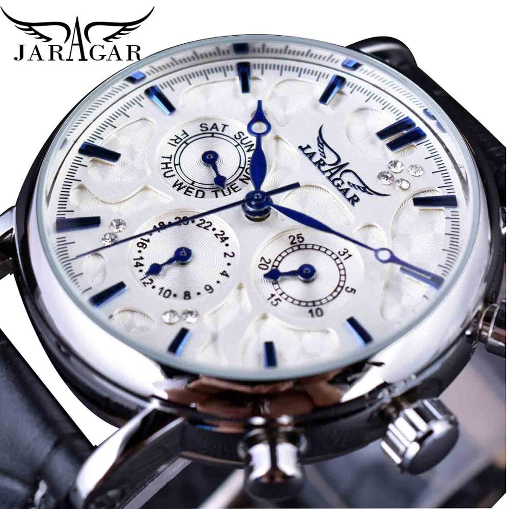 Jaragar Brand Men Automatic Self Wind Mechanical Watch White 3 Dials Calendar Blue Hands Simple Business Leather Band Wristwatch