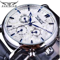 Jaragar Brand Men Automatic Self Wind Mechanical Watch White 3 Dials Calendar Blue Hands Simple Business Leather Band Wristwatch