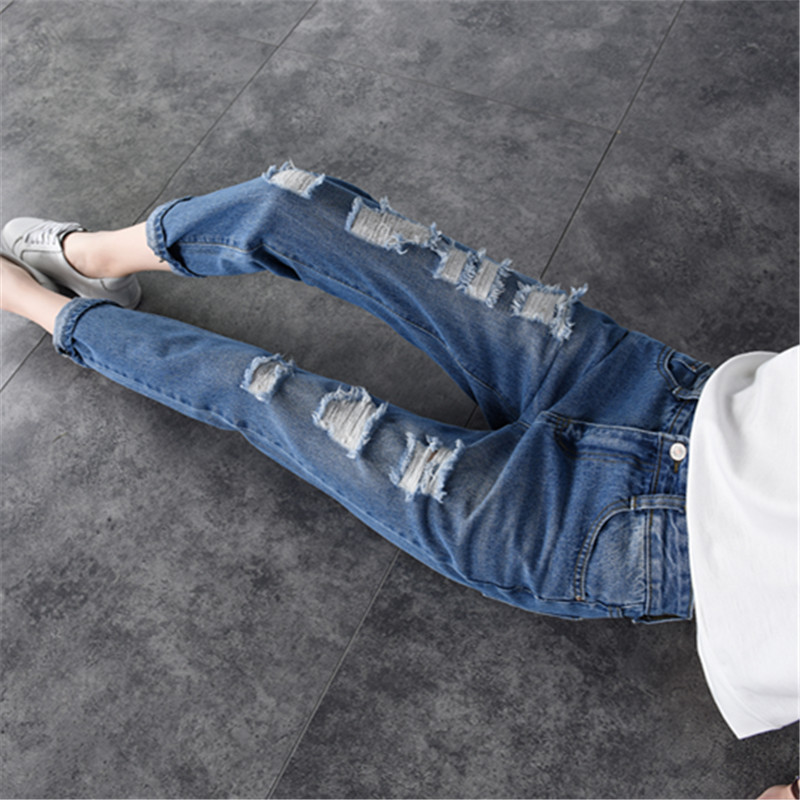 Y-8038 New Style Spring And Summer Capri Pants Jeans Women's Korean-style With Holes Loose-Fit Straight-leg Pants Fashion Large