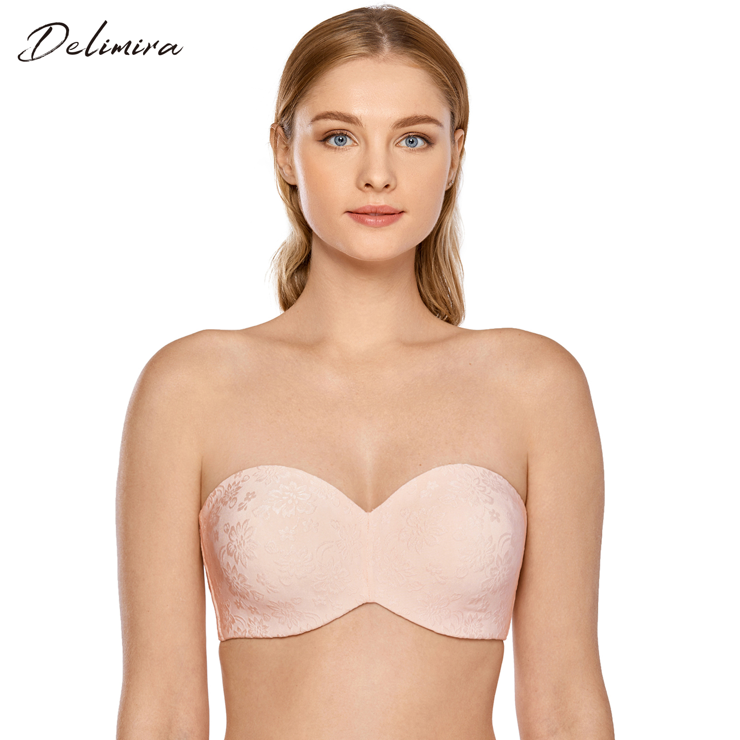 Delimira Women Plus Size Minimizer Strapless Bra Jacquard Unlined Underwire Bras For Large Bust Brassiere