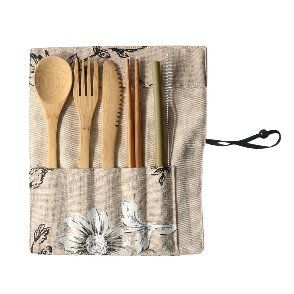 Portable en bois Cuillère Fourchette baguettes Set Table Couverts Ustensile avec pochette