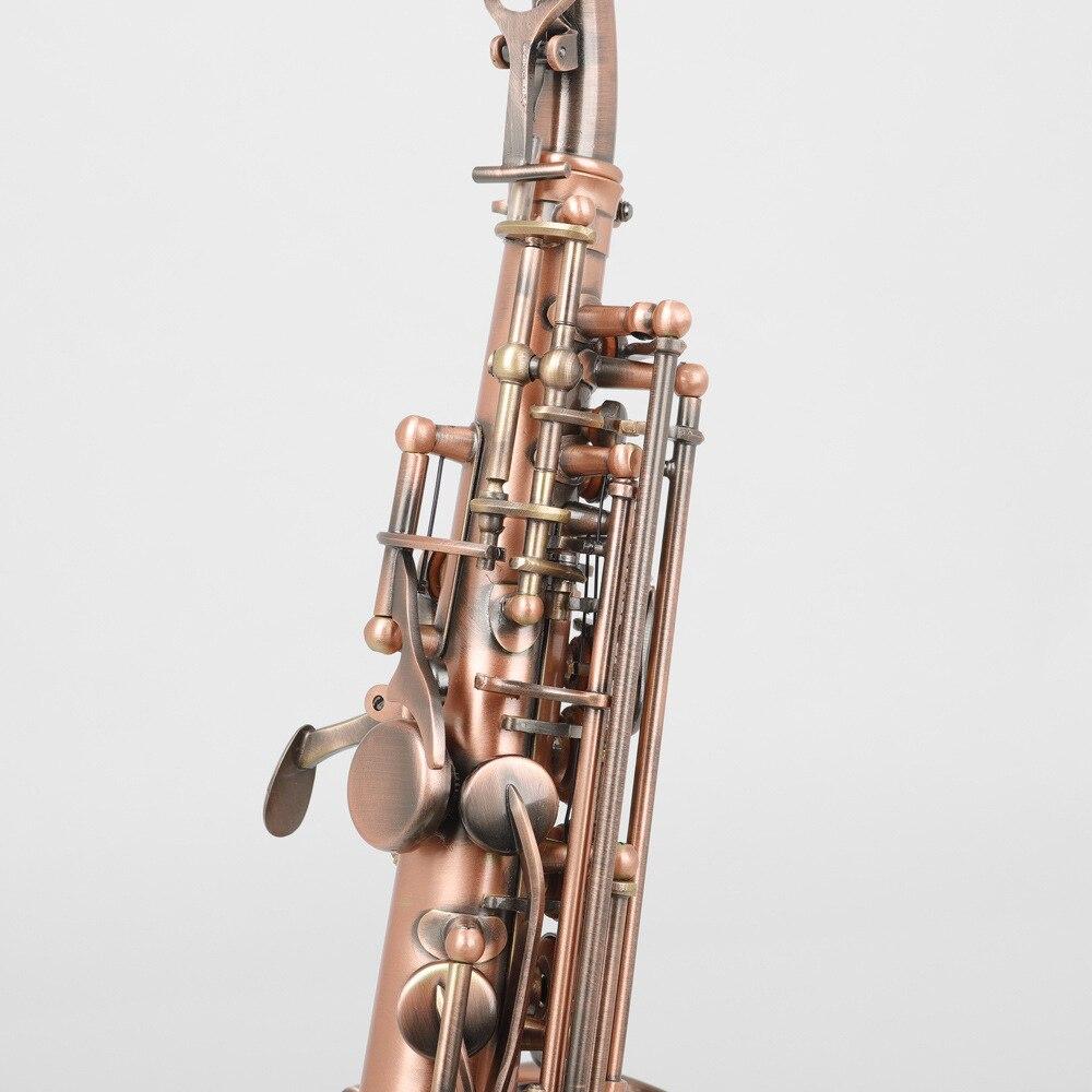 B плоский винтажный медный саксофон с тройным колено, Западный музыкальный инструмент 2