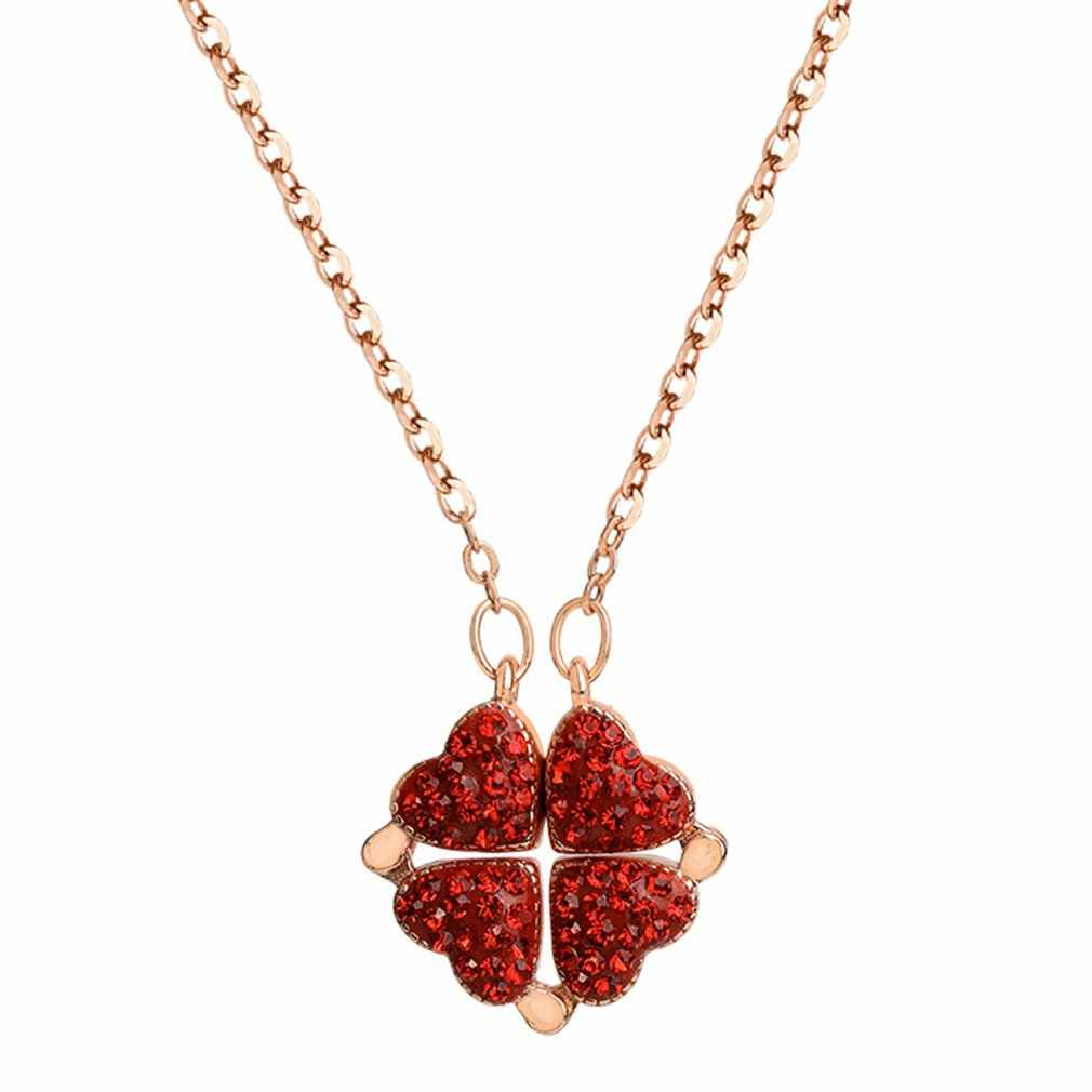 Versão coreana do trevo de quatro folhas colar amor divisão dobrável pingente rosa ouro clavícula corrente cheia diamante vermelho colar