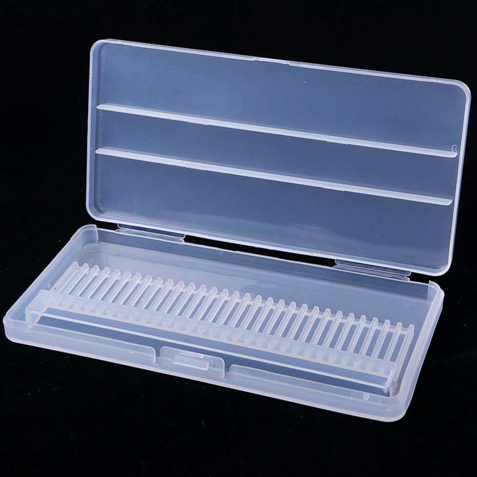 30 Holes Plastic Nail Drill Bit Storage Box Empty Stand Holder For Milling Cutter Display Container Case Manicure Tools SAB5-1