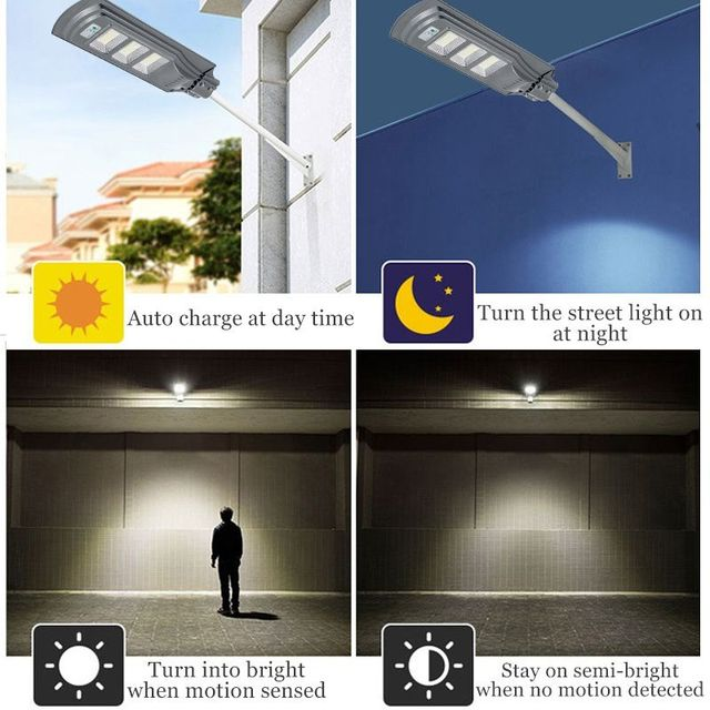 IP66 120W/240W/360WLED Outdoor Lighting Wall Lamp Solar Street Light Solar Powered Radar Motion+Light Control for Outdoor Garden 3