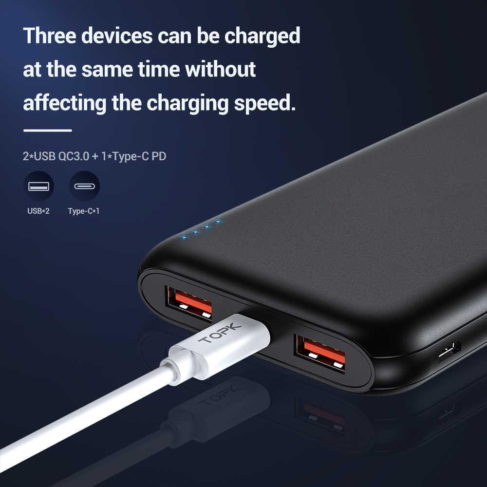"""TOPK 10000mAh כוח בנק 18W USB סוג C חיצוני סוללות QC3.0 פ""""ד דו כיוונית מהיר טעינת Powerbank עבור סמסונג Xiaomi Huawei"""