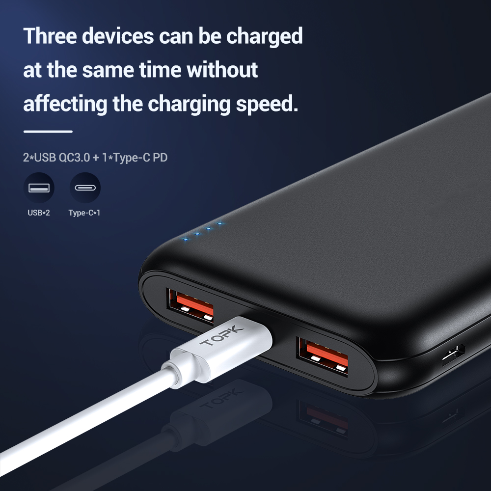 TOPK 10000mAh Power Bank 18W USB Type C External Batteries QC3 0 PD Two way Fast Charging Powerbank for Samsung Xiaomi Huawei in Power Bank from Cellphones Telecommunications