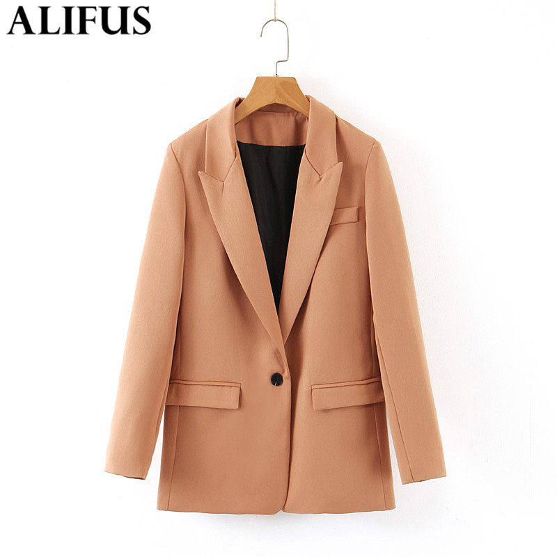 Fashion Za Women 2019 Autumn Vintage Solid Color Basic Blazer Single Button Pockets Coat Long Sleeve Notched  Loose Female
