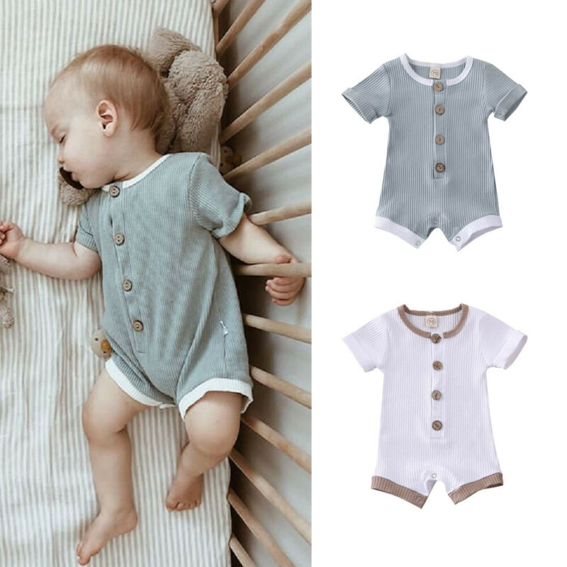 Cotton Newborn Baby Boys Girls Ribbed Romper Bodysuit Jumpsuit Clothes Outfits