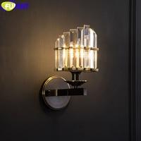 FUMAT クリスタル K9 クラウン形状壁ランプレトロアメリカスタイル創造ローマライト銅フレーム家の装飾照明