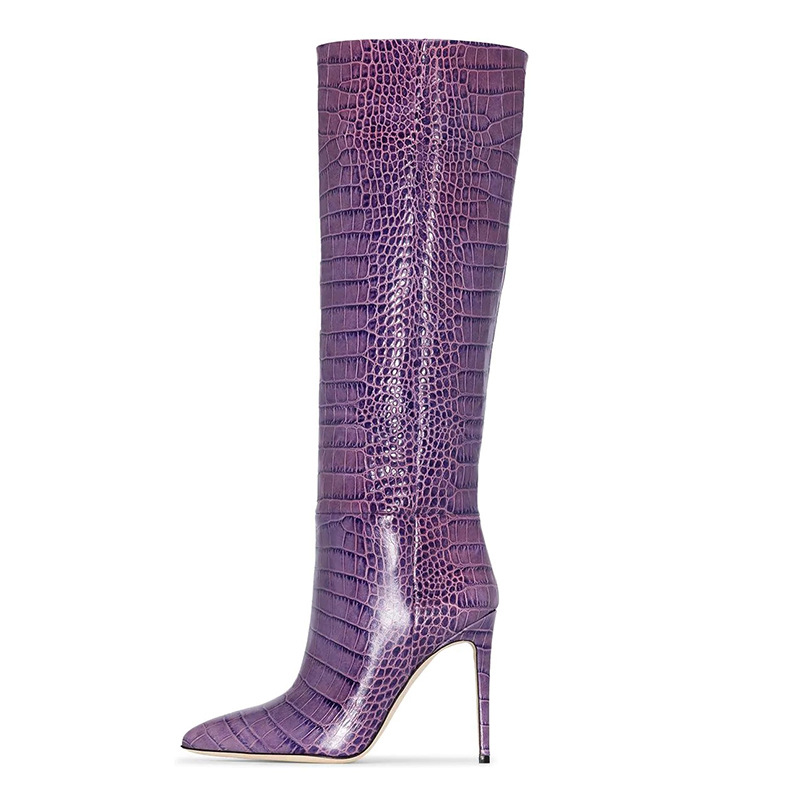 New Women's Long Boots Snakeskin Leather Pointed Toe Thin Heels Knee-high Boots Sexy Shoes Woman Botas Mujer Pure Purple Botas