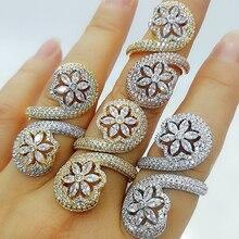 Bold-Rings Jewelry Stones Flower-Design Engagement Party Women Zirconia Luxury GODKI