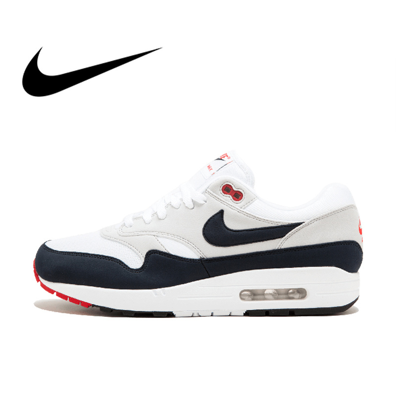 Original Authentic Nike AIR MAX 1 ANNIVERSARY Men's Running Shoes Sport Outdoor Sneakers Athletic Designer Footwear 908375-104