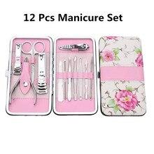 12 unids/set cortador de uñas de manicura portátil conjunto de pedicura Kit de higiene de viaje Juego de Herramientas de manicura de Arte de uñas de acero inoxidable