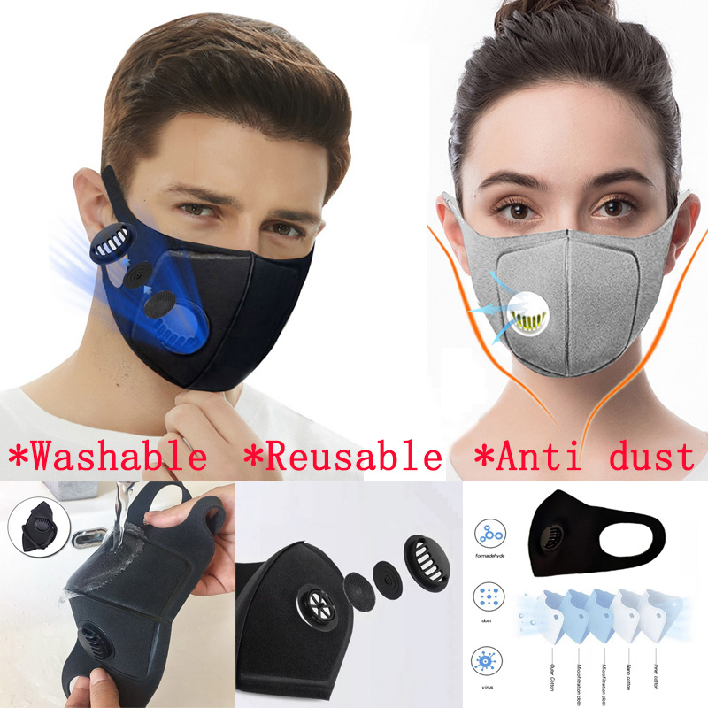 6Pcs Mask Protective Sponge Mask Dustproof PM2.5 Anti Pollution Mouth Mask Washable Reusable Muffle Respirator