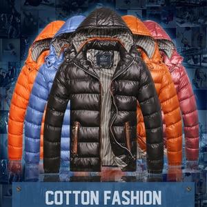 Image 1 - Cotton Padded Winter Jacket Men Loose Coat 2020 Warm Even Hat Parka Man Plus Size 6XL 7XL Leisure Mens Black Blue Jacket Orange