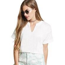 2 Colors Cotton T Shirt Women Solid Simple Tshirt V-Neck Tee Femme Short Sleeve Clothes 2019 S M L XL 5434