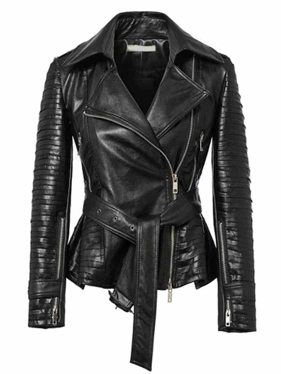 Clearance ขายใหญ่ Punk PU หนังแจ็คเก็ตรถจักรยานยนต์แจ็คเก็ต Streetwear Cool Gothic Coat Slim Zipper ลูกไม้ขึ้นแฟชั่น Designer M