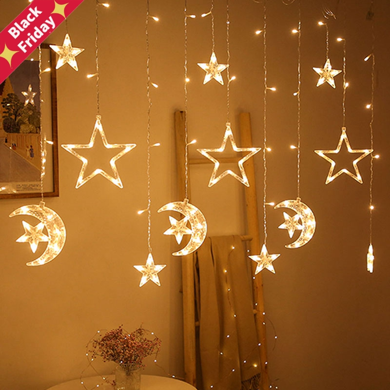Christmas lights led 3.5m Curtain light garland star moon decor for home 220V Fairy Lights Outdoor/Indoor Festival String Light