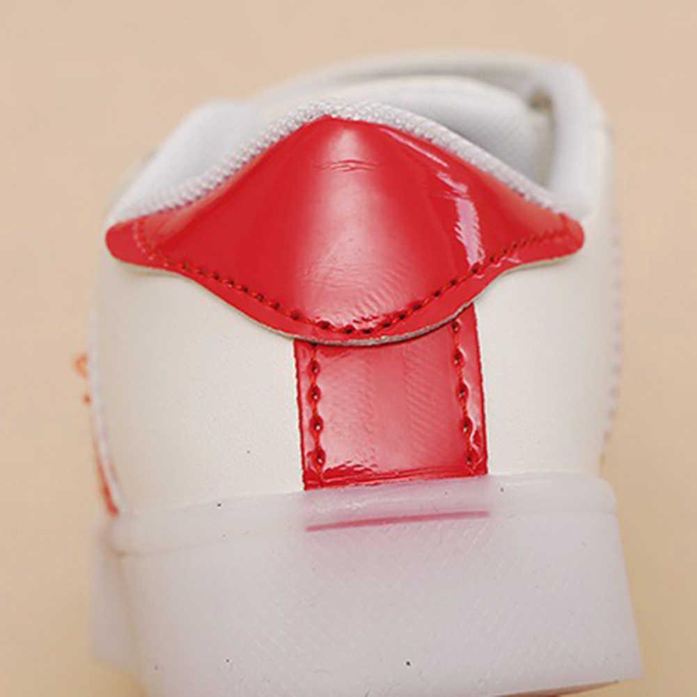 ילדי ילד בנות פס LED זוהר פו עור ספורט נעלי ריצה נעל קסם קלטת סגירת קל לילדים לשים על או off