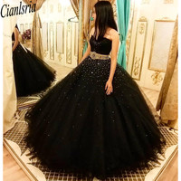 2020 Beaded Pearls Crystals Quinceanera Prom Dresses Ball Gown Sweetheart Tulle Evening Party Sweet 16 Dress