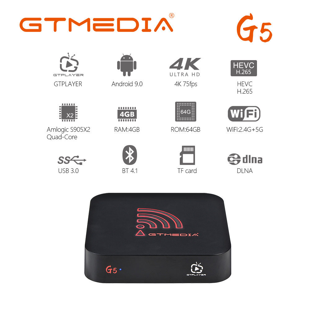 Smart TV BOX GTmedia G5 Android 9.0 Box Quad Core 4GB RAM 64GB 2.4G&5G WIFI 4K HD BT OTA Media Google Play Set Top Box PK H96MAX