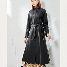 Women Windbreaker 100% Leather Sheepskin Jacket Jacket Natural Leather Keep Warm Coat H228