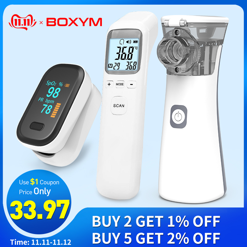 BOXYM Fingertip Pulse Oximeter & Handheld Asthma Inhaler Nebulizer & Infrared Thermometer Family Health Care Travel Packages