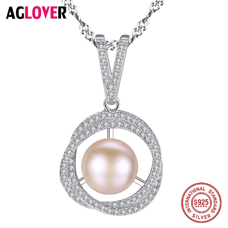 AGLOVER offre spéciale 925 chaîne en argent collier de perles pendentif naturel perle d'eau douce bijoux lien fête femmes cadeau livraison gratuite
