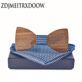 mantieqingway new design mens pocket square bow tie set wood tie gravatas bowties wedding business suit wooden bow ties hankies New 2018 design Classic feather noble Wood Bow Ties for Mens Wedding Suits Wooden Bow Tie Pocket Square Butterfly Shape Set