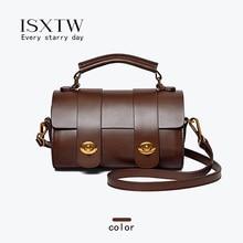 цена на ISXTW Woman Bag 2019 New Leather Handbags Fashion Messenger Bag Boston Bag Retro Shoulder Portable Pillow Bag Brown / B13