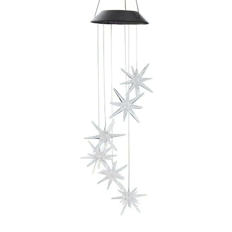 TOP!-Led Solar Wind Spinner Color Changing Urchin Star Wind Chime Lamp for Home Outdoor Garden Patio