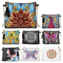 5D DIY Diamond Painting Peafowl Butterfly Flower Leather Crossbody Chain Bags DIY Diamond Embroidery Bag Wallet Pouch