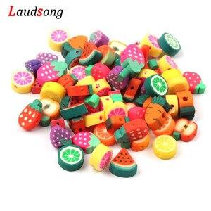 50 stücke Mixed Fruit Perlen Polymer Clay Perlen 10mm Spacer Lose Perlen Für Schmuck Machen Halskette DIY Zubehör