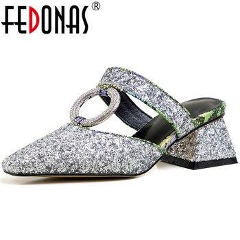 FEDONAS Rhinestone High Heels Cow Leather Square Toe Sandals Slippers Slip On Basic Shoes Summer Elegant Shallow Shoes Woman