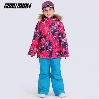 Dziewczęce kombinezony snowboardowe kurtka narciarska z zestaw spodni dzieci dzieci Snowboard płaszcz i spodnie zimowe ubrania śniegowe dziewczyny odzież narciarska tanie i dobre opinie Gsou Snow Pasuje prawda na wymiar weź swój normalny rozmiar CN (pochodzenie) Drukuj Wodoodporna Poliester 10000