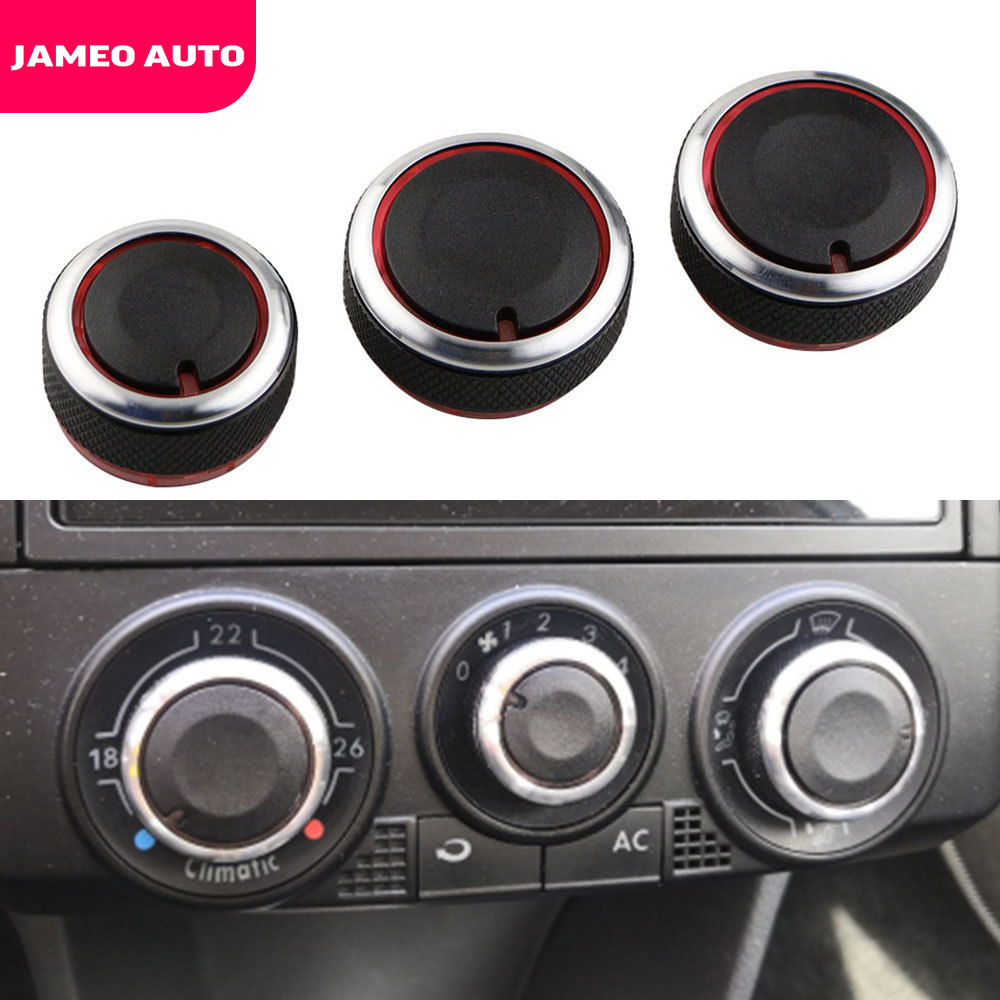 Jameo Auto Air Knob For Volkswagen VW POLO 2004 - 2013 Switch Knobs Heater Control Buttons Dials Heat Frame Air Con Cover