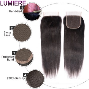 Image 5 - Straight Bundles With Closure Brazilian Hair Weave Bundles With Closure Human Hair Bundles With Closure Hair Extension remy