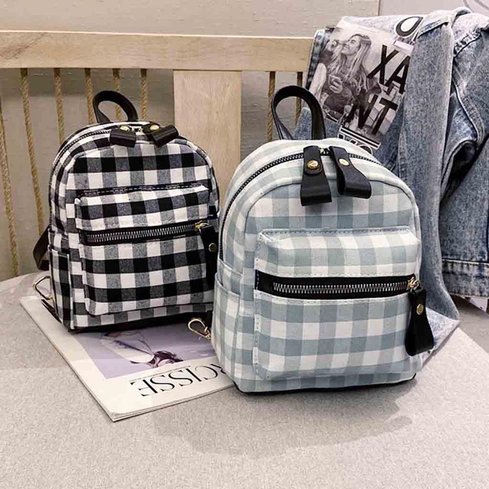 2019 Plaid Mini Rucksack Female Travel Laptop Backpack Book Schoolbags School Backpack Casual Rucksack Women Bag #15