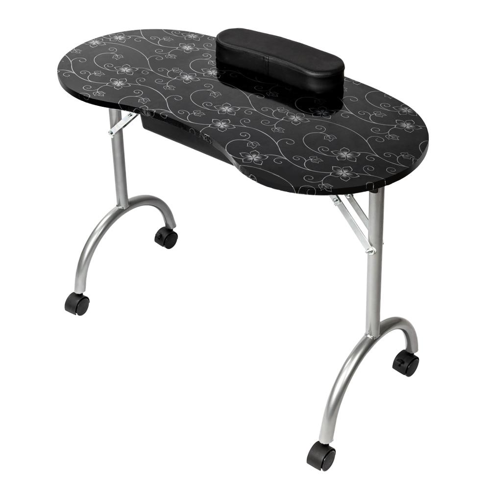 【US Warehouse】Portable MDF Tavolo Manicure con Bracciolo e Cassetto Salon Spa Attrezzature Nail Nero Trasporto di Goccia USA