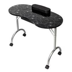【US warehouse】mesa de manicura portátil MDF con reposabrazos y cajón salón Spa Nail Equipment Black Drop Shipping USA